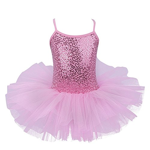 FEESHOW Girls Sequins Glitter Ballet Dress Tutu Skirt Leotard Dance Costumes Pink 6-7 (Pink Dance Costume)