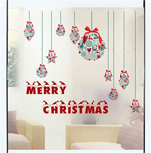 XIONGXI Applique Christmas Window Stickers Frosted Glass Film Christmas Wall Stickers Muurstickers Home Decor Christmas Decorations for Home