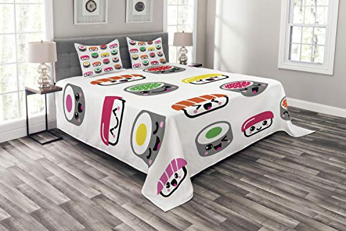 (Ambesonne Sushi Bedspread Set Queen Size, Cute Kawaii Style Sushi Symbols Smiling and Yawning Expressions Kids Cartoon Concept, 3 Piece Decorative Quilted Coverlet with 2 Pillow Shams, Multicolor)