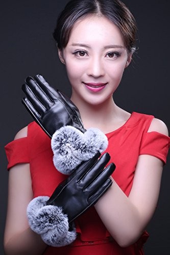 Generic Leather_ glove gloves _touch_screen_profile,_rabbit hair of_ women girls autumn winter _thickening_plus_velvet_warm_ winter _riding_for Korean_style_of leather glove gloves
