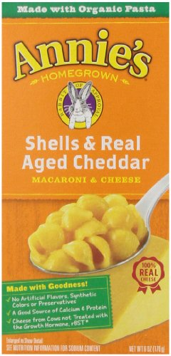 Annie's Homegrown Shells & Real Aged Wisconsin Cheddar, 6-ounces (Pack of12)