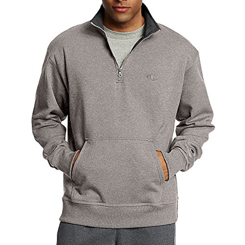 Champion Men's Powerblend Fleece 1/4 Zip Pullover_Oxford Grey_M