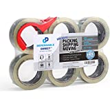 """Ultra Quiet, Industrial Grade Clear Packing Tape (6 Rolls) - 60 Yards per Roll - 2"""" Wide x 2.7 mil Thick, Acrylic Adhesive Heavy Duty Tape for Box Office Moving Packaging Shipping, Free Tape Cutter"""