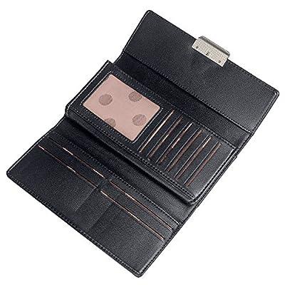 Fency Women's Multi-Card Faux Leather Wallet Long Tri-fold Matte Net Surface Purse
