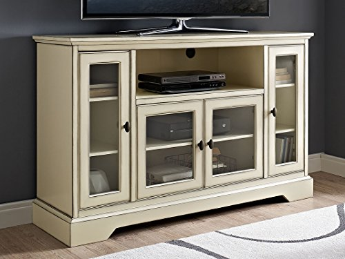 New 52 Inch Wide Highboy Style Television Stand in Antique White Finish by Home Accent Furnishings
