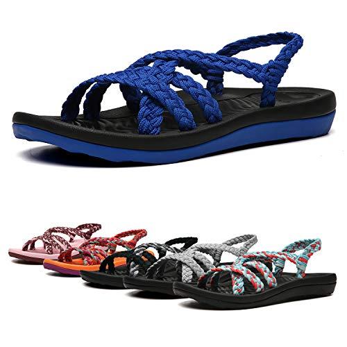 EAST LANDER Women's Comfortable Flat Walking Sandals with Arch Support Waterproof for Walking/Hiking/Travel/Wedding/Water Spot/Beach.18ZDKDEA01-W7-8 BD Blue