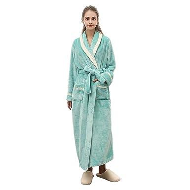 0eafbfe4a6fc LeDan Women Men Thicken Long Flannel Bathrobe Winter Warm Couple Nightgown  (M