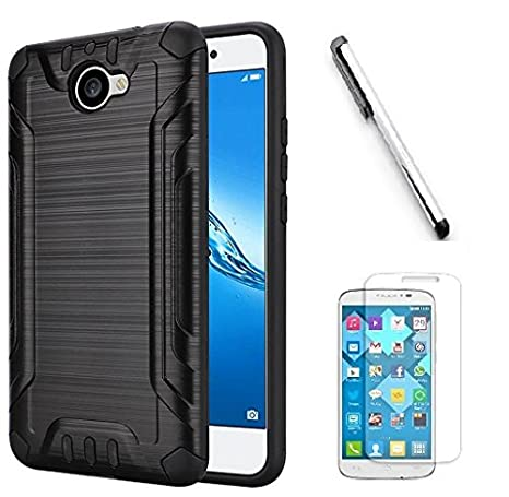 the latest bc92c be226 Huawei Ascend XT2 H1711 Case, Huawei Elate 4G Case, Luckiefind Hybrid Dual  Layer Hybrid Shockproof Impact Case Cover, Stylus Pen Accessory (Black)