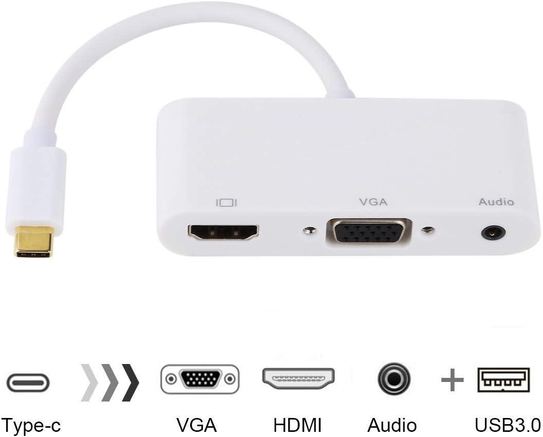 USB 2.0 Audio Port Color : White VGA +HDMI to USB-C//Type-C HUB Adapter Black