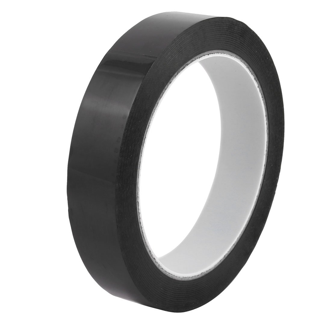 uxcell 25mm Width 66m Length Waterproof Black Single Sided Adhesive Marking Tape