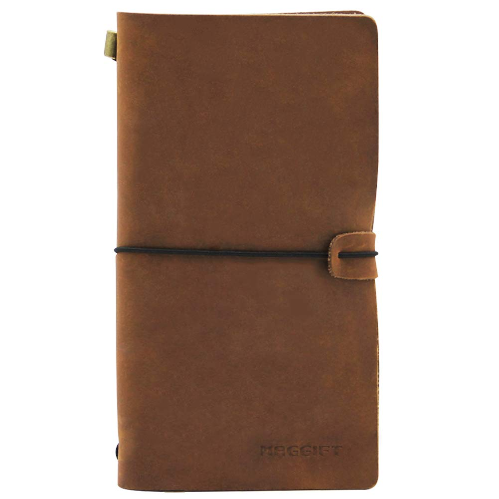 Maggift Refillable Leather Journal Travelers Notebook, Perfect Gift for Men or Women, Writing, Poets, Travelers, as a Diary, Hand-Crafted, Blank Inserts, 8.6 x 4.8 in (Brown)