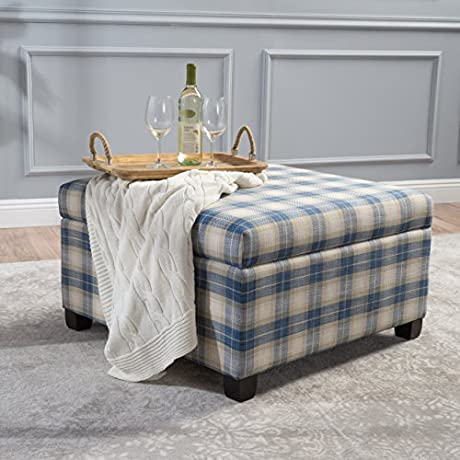 Matias Blue Plaid Fabric Storage Ottoman
