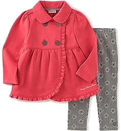 Calvin Klein Little Girls\' Fleece Jacket with Leggings Set, Gray, 6