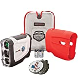 Bundle: Bushnell 2016 Tour V4 Jolt Patriot Pack Golf Laser Rangefinder + CR2 Battery + 1 Custom Ball Marker Clip Set (American Eagle) + Red Silicon Skin