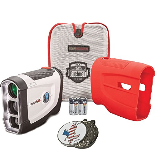 Bundle: Bushnell 2016 Tour V4 Jolt Patriot Pack Golf Laser Rangefinder + CR2 Battery + 1 Custom Ball Marker Clip Set (American Eagle) + Red Silicon Skin (More See Putter Cover)