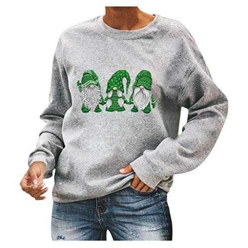 Kiminana Merry Christmas Sweatshirt Women Cute Santa Claus Print Xmas Tops Pullover Casual Long Sleeve Jumper Blouse