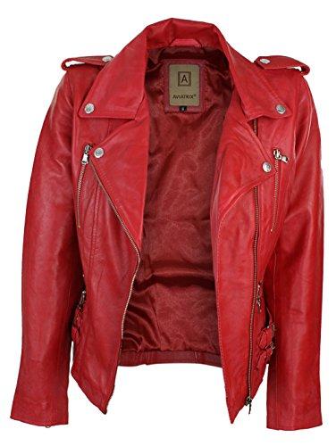 Ceintrée Style Perfecto Femme Rouge 100 Rock Biker Rétro Coupe Véritable Cuir Veste gcTOqSU0w0
