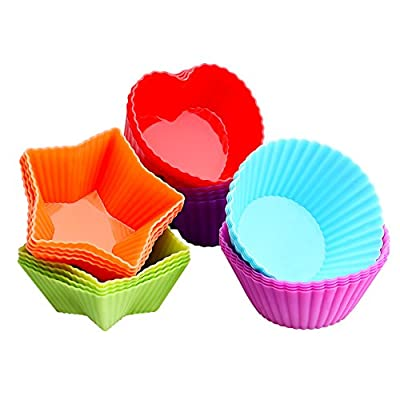 OMorc Baking Cups, [24 Pack] Silicone Baking Cups Heat-Resisitant Cupcake Liners Moulds Sets, BPA Free FDA Approved Reusable Non-Stick Muffin Cups - 6 Colors with 3 Shapes (Heart, Star, Round)