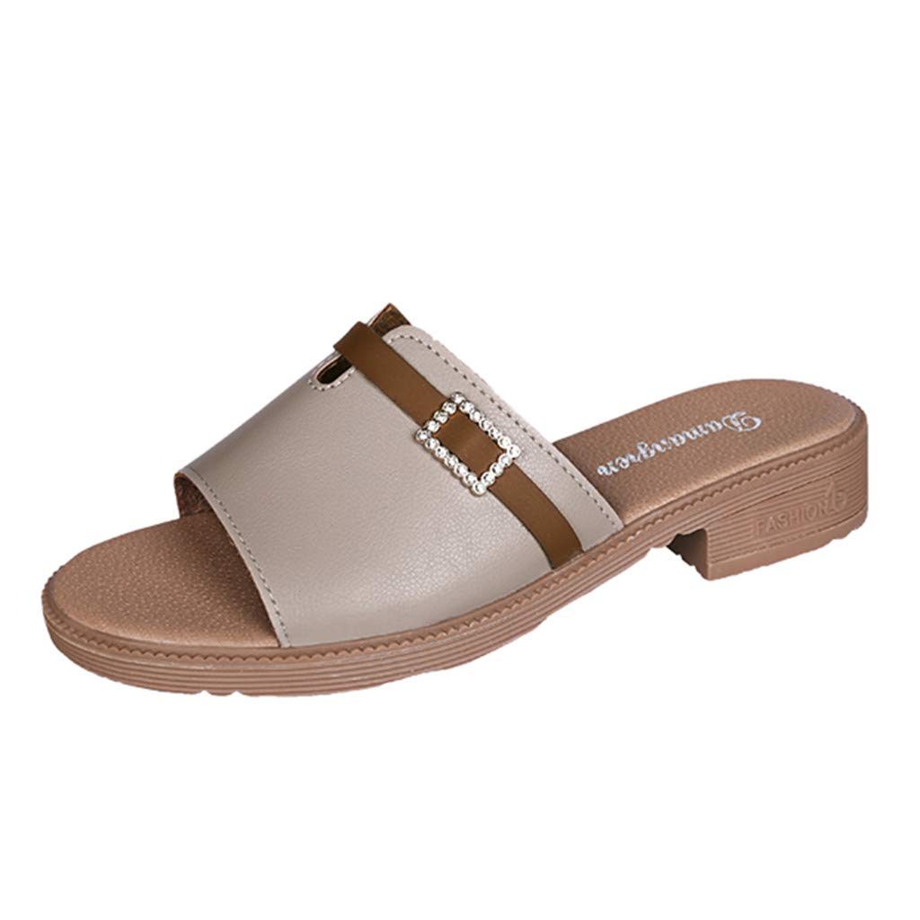 TANGSen Womens Fashion Casual Outdoor Open Toe Sandals Summer Flat with Buckle Strap Shoes Low Heels Sandals