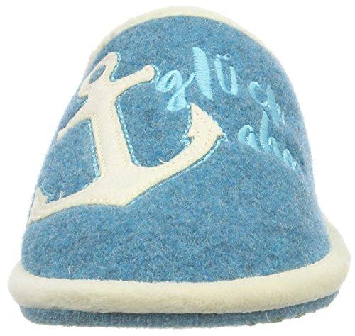 femme Glück Pantoufles Bleu Wasserblau Filzpantoffel Ahoi Adelheid 218 xTSq1Iw