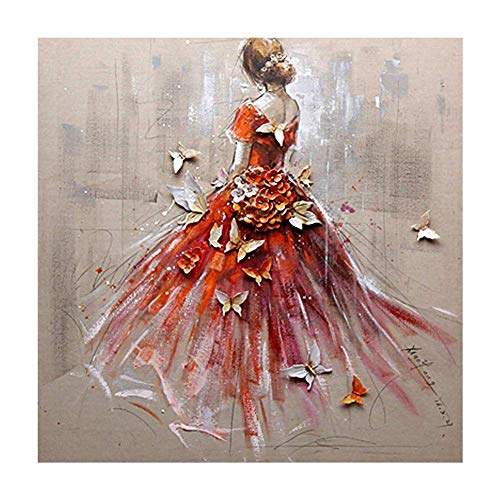 DIY 5D Diamond Painting by Number Kits, Black Girl Crystal Rhinestone Diamond Embroidery Paintings Pictures Arts Craft for Home Wall Decor, Full Drill -15.7x15.7 inch