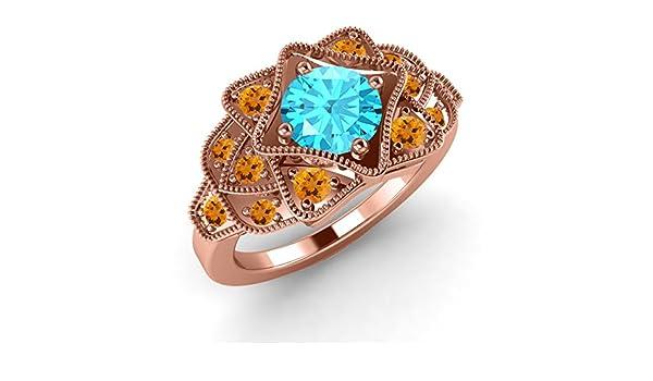 Silverraj Jewels Engagement Wedding Bridal Ring 14K Gold Fn Simulated Diamond Studded Alloy Womens Jewellery