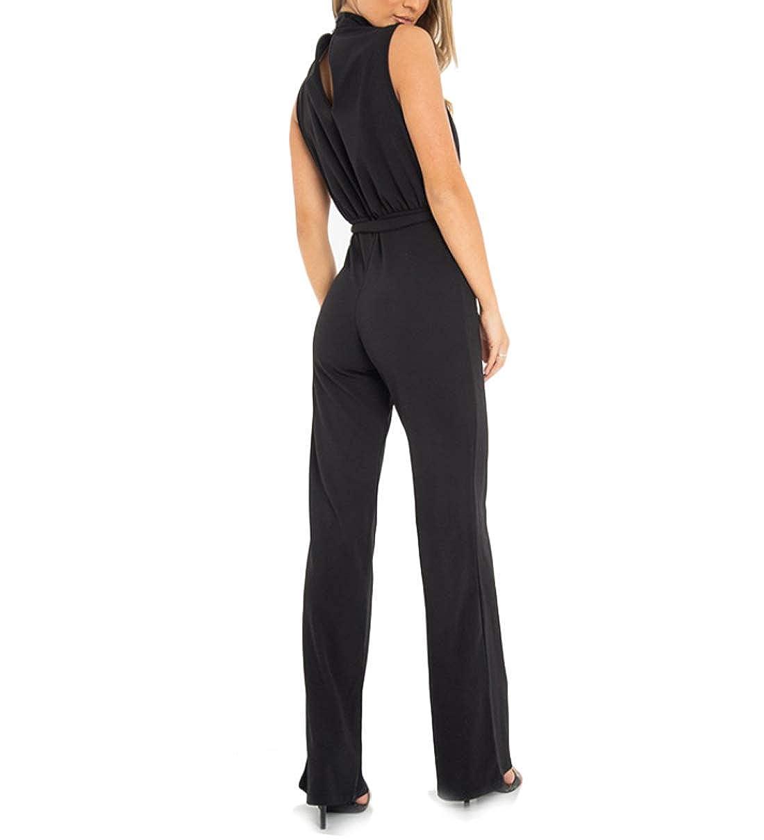 BGDream Women Fashion Elegant Solid Sleeveless Tie Waist Bodycon Jumpsuit Wide Leg Jumpsuit Pants