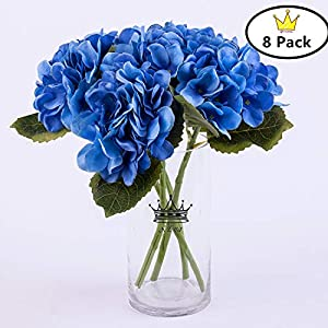 S.Ena 6 Branch 30 Heads Artificial Silk Fake Flowers Leaf Hydrangea Wedding Floral Home Decor Bouquet Birthday Party DIY, Pack of 8 (Blue) 99