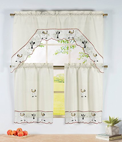 Embroidered 3-Piece Kitchen Tier and Valance 60 x 72 Set with Scalloped Border, Wine Chef