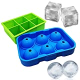 Ice Balls Cube Mold - Sphere Ice Maker Large Square Tray Set BPA Free Silicone Flexible Reusable Cool Whiskey, Bourbon, Cocktails, Drinks, Liquids Or Make Popsicles Green Blue [2 Pack]
