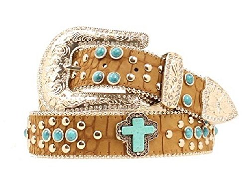 Blazin Roxx Women's Turquoise Studded Cross Belt Med Brown Small (Belt Turquoise Beaded)