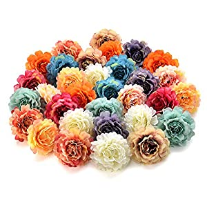 Flower heads in bulk wholesale for Crafts Silk Peony Rose Artificial Flower Heads Wedding Home Furnishings DIY Wreath Handicrafts Cheap Fake Flowers Party Birthday Home Decor 30pcs 4.5cm 95