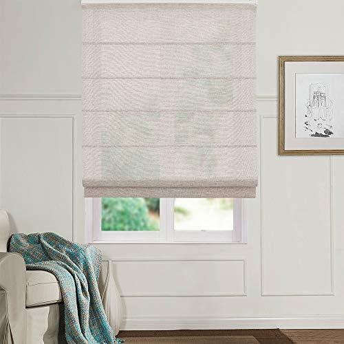 Artdix Roman Shades Blinds Window Shades – Dark Coffee 61.5 W x 72L Inches 1 Piece Linen Sheer Solid Fabric Custom Made Roman Shades for Windows, Doors, Frech Doors, Kitchen, Living Room