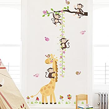Colorful Kids Height Chart, 69.7x22 Finished MIkilon House Birds on Tree Growth Chart Kids Wall Decals Peel and Stick Removable Wall Stickers for Kids Nursery Bedroom Living Room
