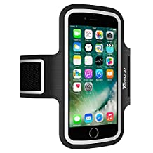 Trianium Armband For iPhone 7/6/6S PLUS, LG G5, Note 3/4/5 with case (fits with Otterbox Defender & Lifeproof case) ArmTrek Pro Exercise Running Pouch Key Holder Good For Hiking,Biking,Walking- Black