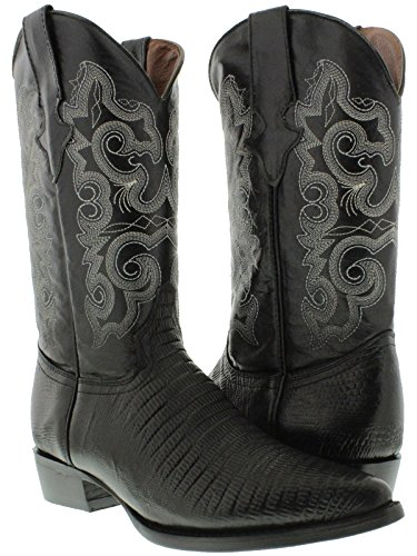 - Team West - Men's Black Teju Lizard Print Leather Cowboy Boots 12 E US