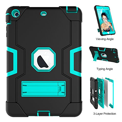 - iPad Mini Case,iPad Mini 2 Case,iPad Mini 3 Case, UZER Heavy Duty Shockproof Anti-Slip Silicone High Impact Resistant Hybrid Three Layer Armor Protective Case Cover with Kickstand for iPad Mini 1/2/3