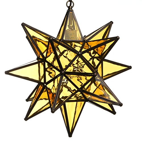 15 Inch Hanging Amber Glass Star Pendant Lamp