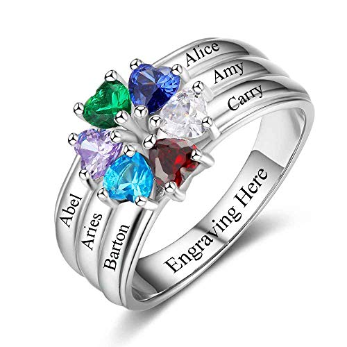 Ashleymade Personalized Mothers Rings with 6 Simulated Birthstones Rings Custom 6 Family Name Ring Gifts for Mom Mother Grandmother (Silver, 7) -