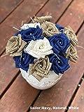 Burlap Flowers with Stem 12 Your Choice Color Burlap Rose Wedding Decor (Set of 12) Flowers Rustic Bouquet Your Choice Color with Wooden Stem