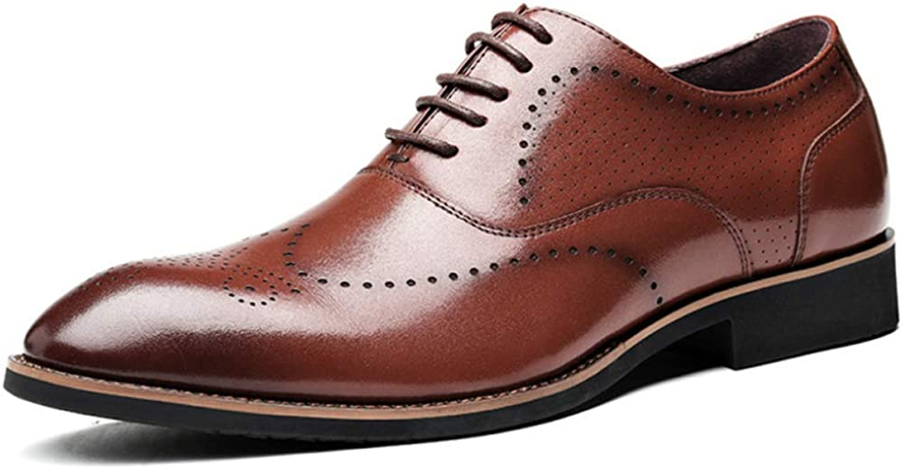 Mens Formal Brogues Real Leather Shoes Business Casual Round Toe Shoe Comfortably Breathable Lace Up Footwear Wedding Gifts Brown