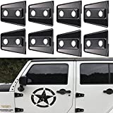 u-Box Black Door Hinge Cover Trim for 2007-2017 Jeep Wrangler 4 Door -8PCS/Set