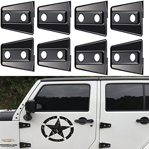 u-Box Black Door Hinge Cover Trim for 2007-2018 Jeep Wrangler 4 Door -8PCS/Set