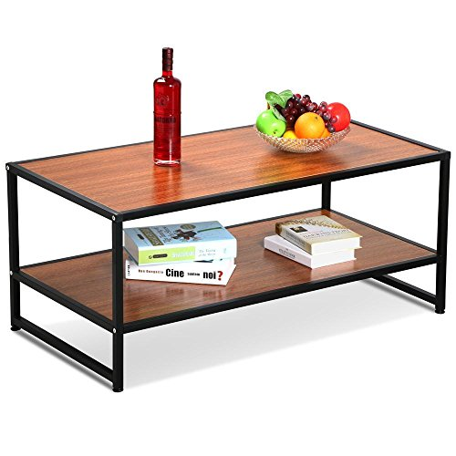 Yaheetech Modern Living Room 2 Shelf/Tier Large Rectangle Wood Coffee Table Metal Legs Sofa Side End Tables with Storage Shelves (Black & Brown) (Rattan Furniture Used Sale)