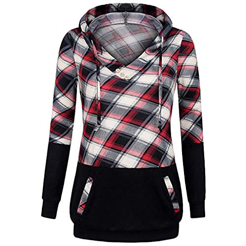 ▶HebeTop◄ Womens Pullover Hoodie Sweatshirt Long Sleeve V Neck Plaid Lightweight Tunic Top with Pocket Red ()