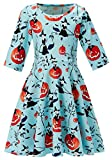 3t 4t 5t Kids Girl's Orange Pumpkin Dress 3D Print Pretty Cute Cool Black Witch Vampire Cat Puffy Swing Midi Long Halloween Night Costumes for Little Children School Festive Activities Outfits