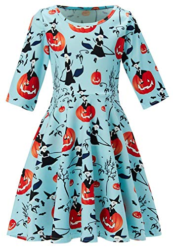 Vampire Girl Outfits (3t 4t 5t Kids Girl's Orange Pumpkin Dress 3D Print Pretty Cute Cool Black Witch Vampire Cat Puffy Swing Midi Long Halloween Night Costumes for Little Children School Festive Activities)