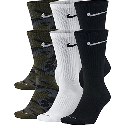 NIKE Unisex Everyday Max Cushion Crew Socks (6 Pairs), Olive Green Camo/White/Black, Large