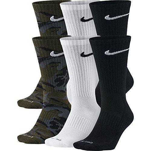 b273e767a NIKE Unisex Everyday Max Cushion Crew Socks (6 Pairs), Olive Green Camo/