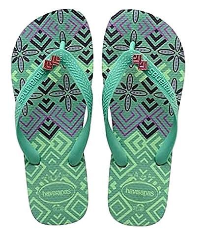 Havaianas Women's Gracia Fashion Flip Flop Sandals (37-38 BR / 7-8 B(M) US, Green Tea) (Green Flip Flops)